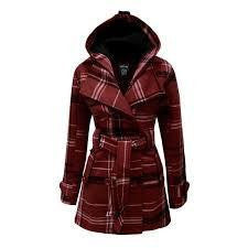 Wine Military Check Belted Fleece Hooded Coat