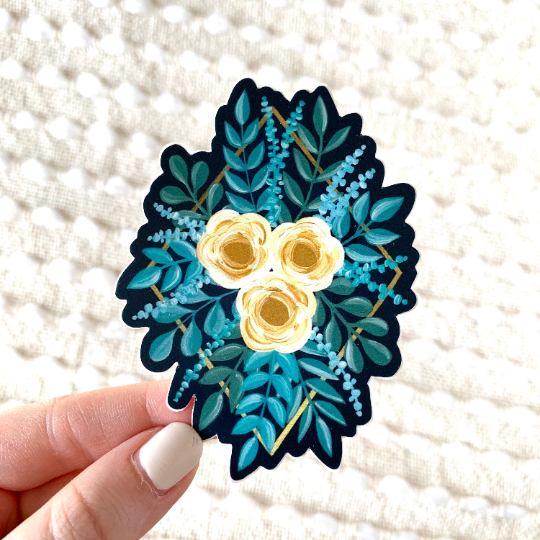 Blue & Yellow Diamond Rose Bouquet Sticker