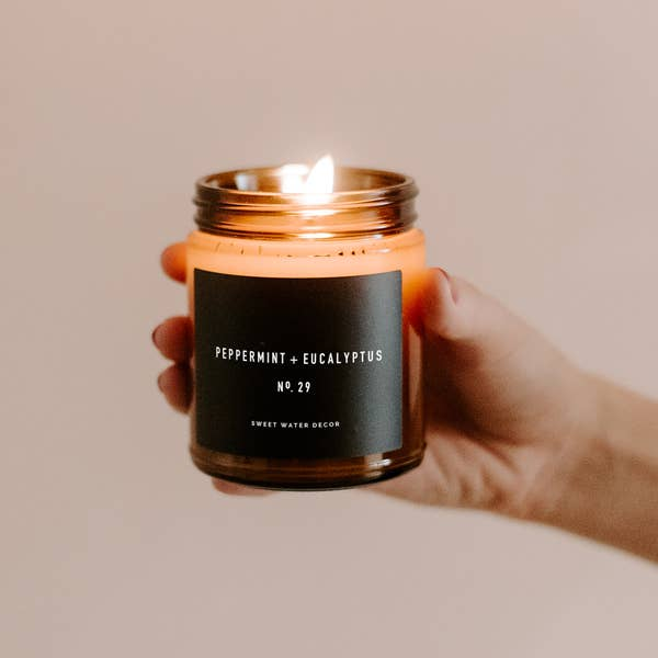 Peppermint and Eucalyptus Soy Candle | Amber Jar Candle
