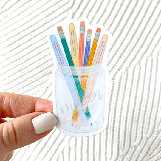 Pens and Pencils Mason Jar Sticker