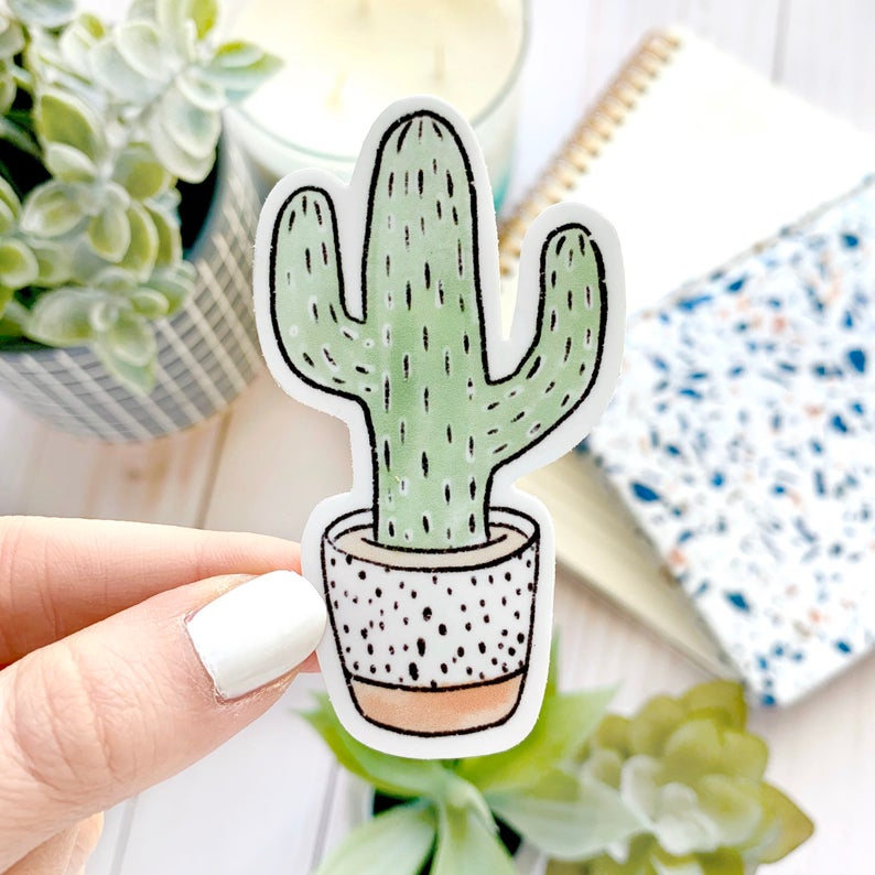 Watercolor Potted Cactus Sticker