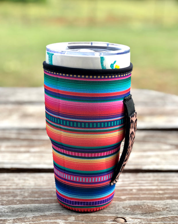 Serape with Leopard Handle Tumbler Holder