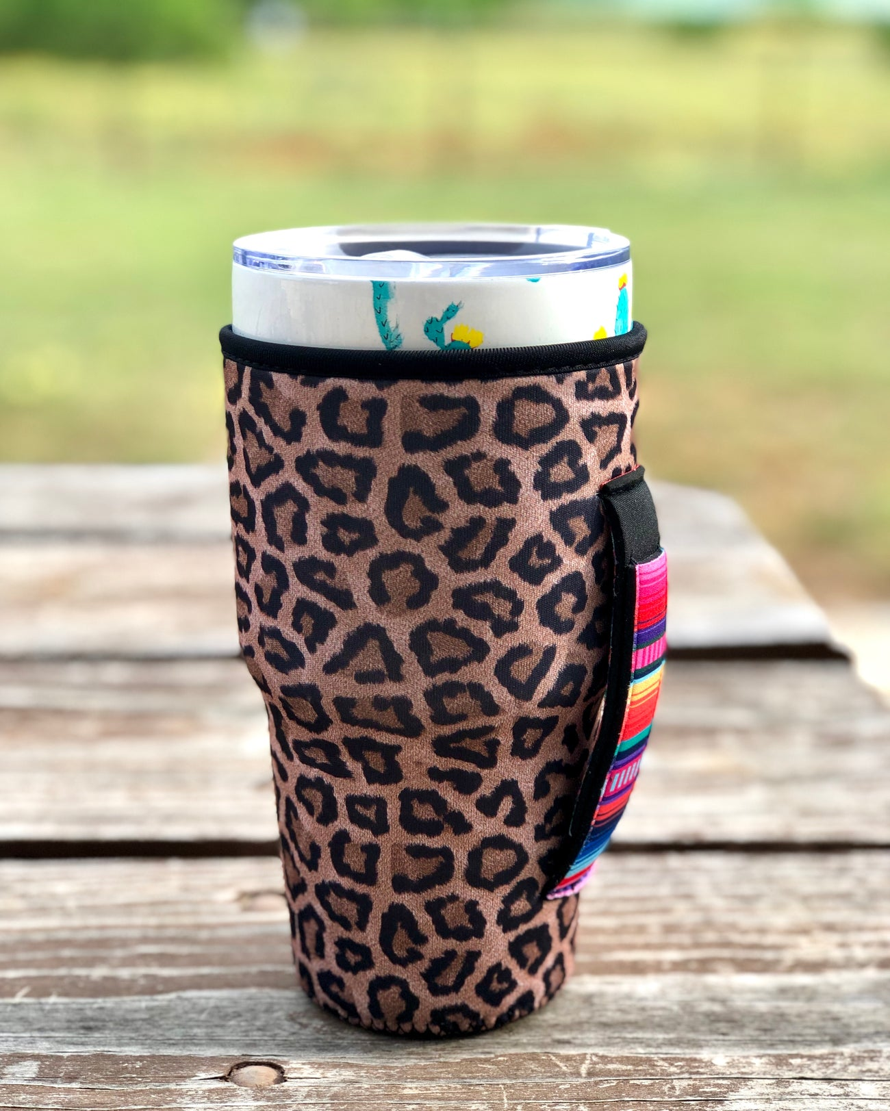 Leopard with Serape Handle Tumbler Holder