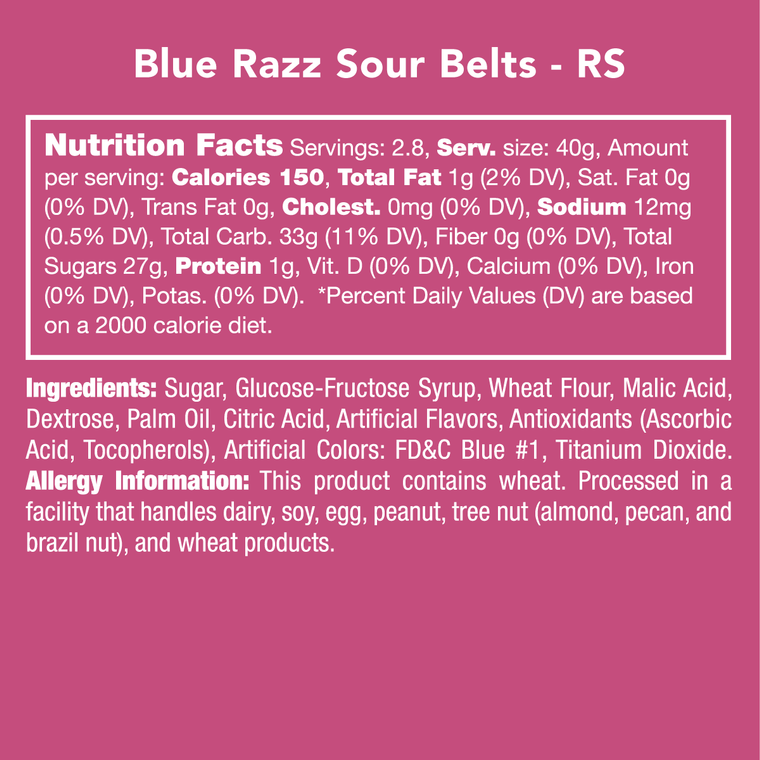 Candy Club Blue Razz Sour Belts