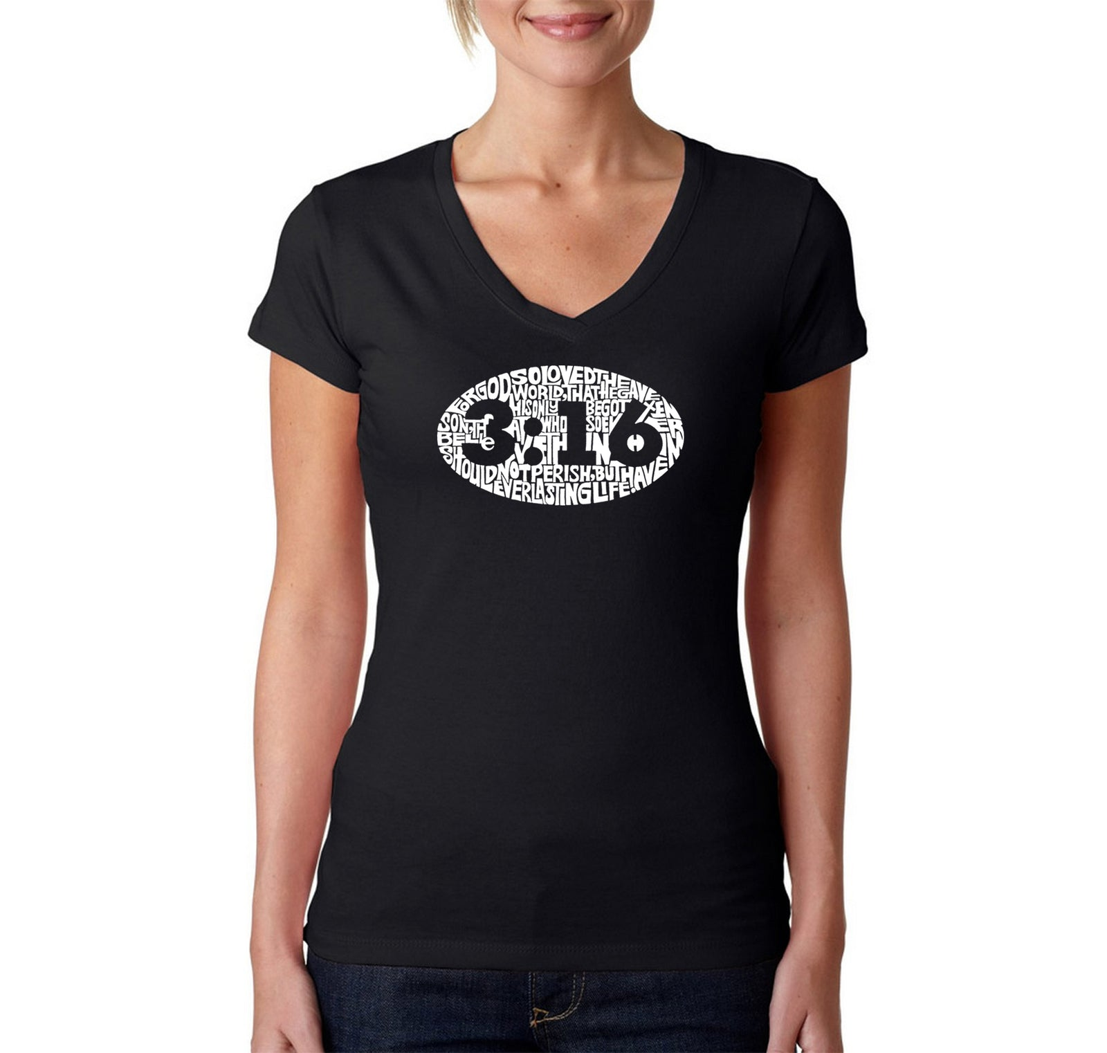 Women's V-Neck T-Shirt - John 3:16