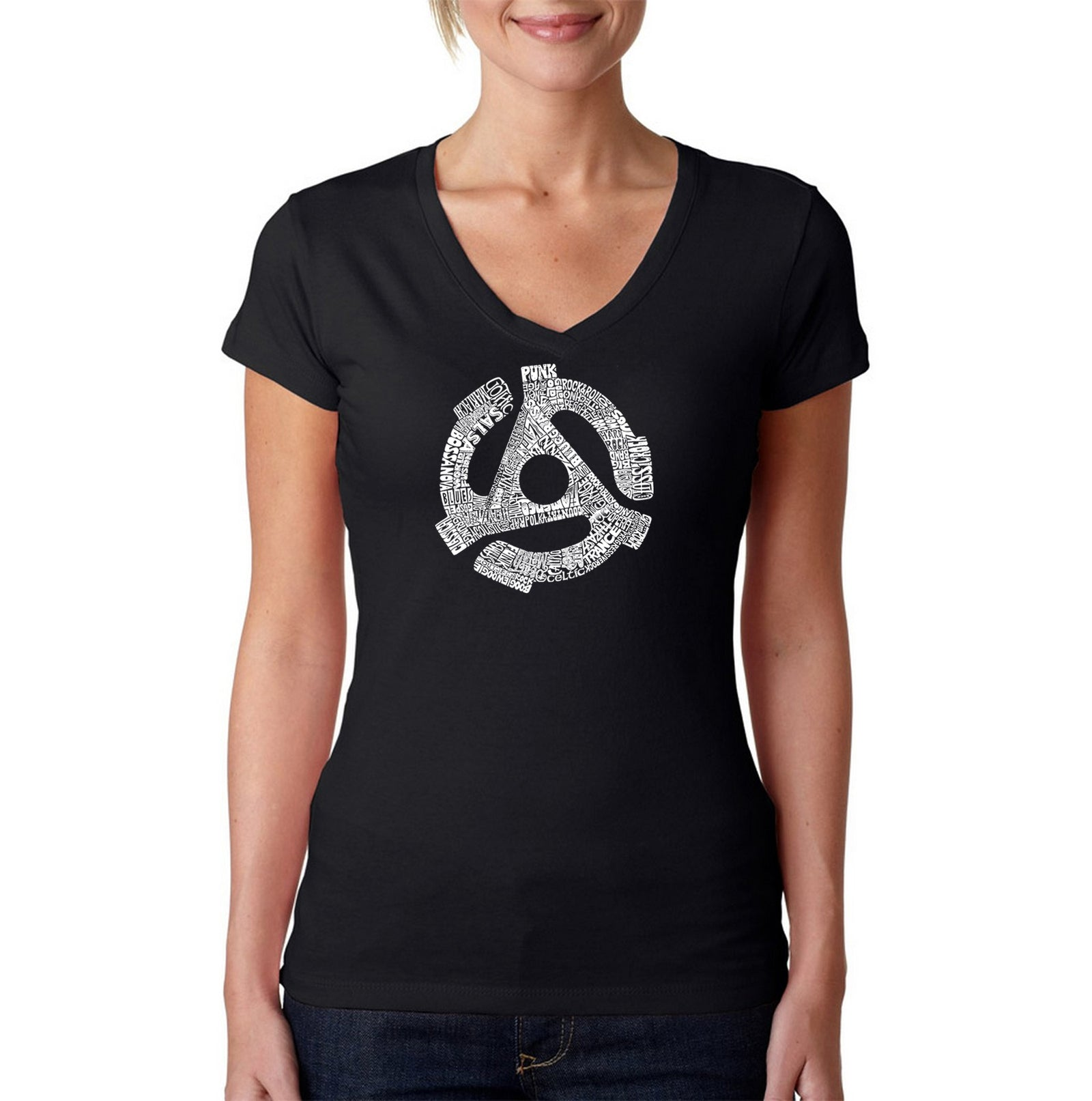 Women's V-Neck T-Shirt - Record Adapter