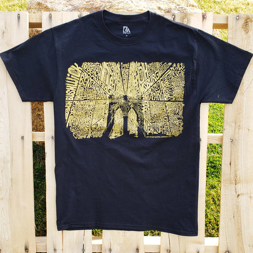 Men's Limited Edition Gold Foil T-shirt - Brooklyn Bridge Created Out Of Popular Brooklyn Neighborhoods