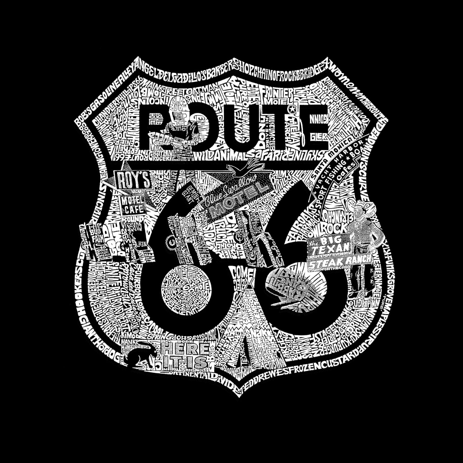 Women's Premium Blend Word Art T-shirt - Stops Along Route 66