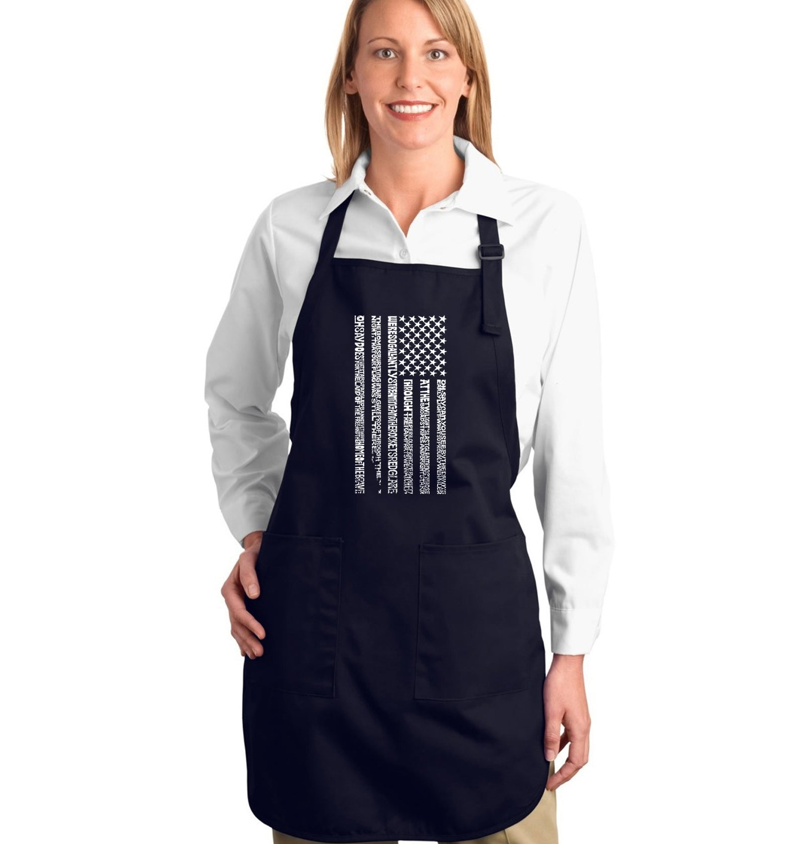 LA Pop Art Full Length Word Art Apron - National Anthem Flag