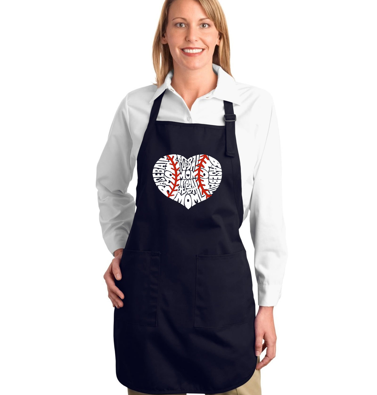 LA Pop Art Full Length Word Art Apron - Baseball Mom
