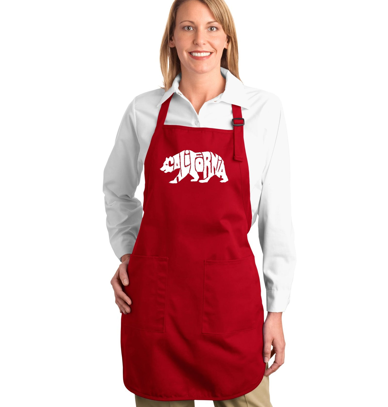 LA Pop Art Full Length Word Art Apron - California Bear