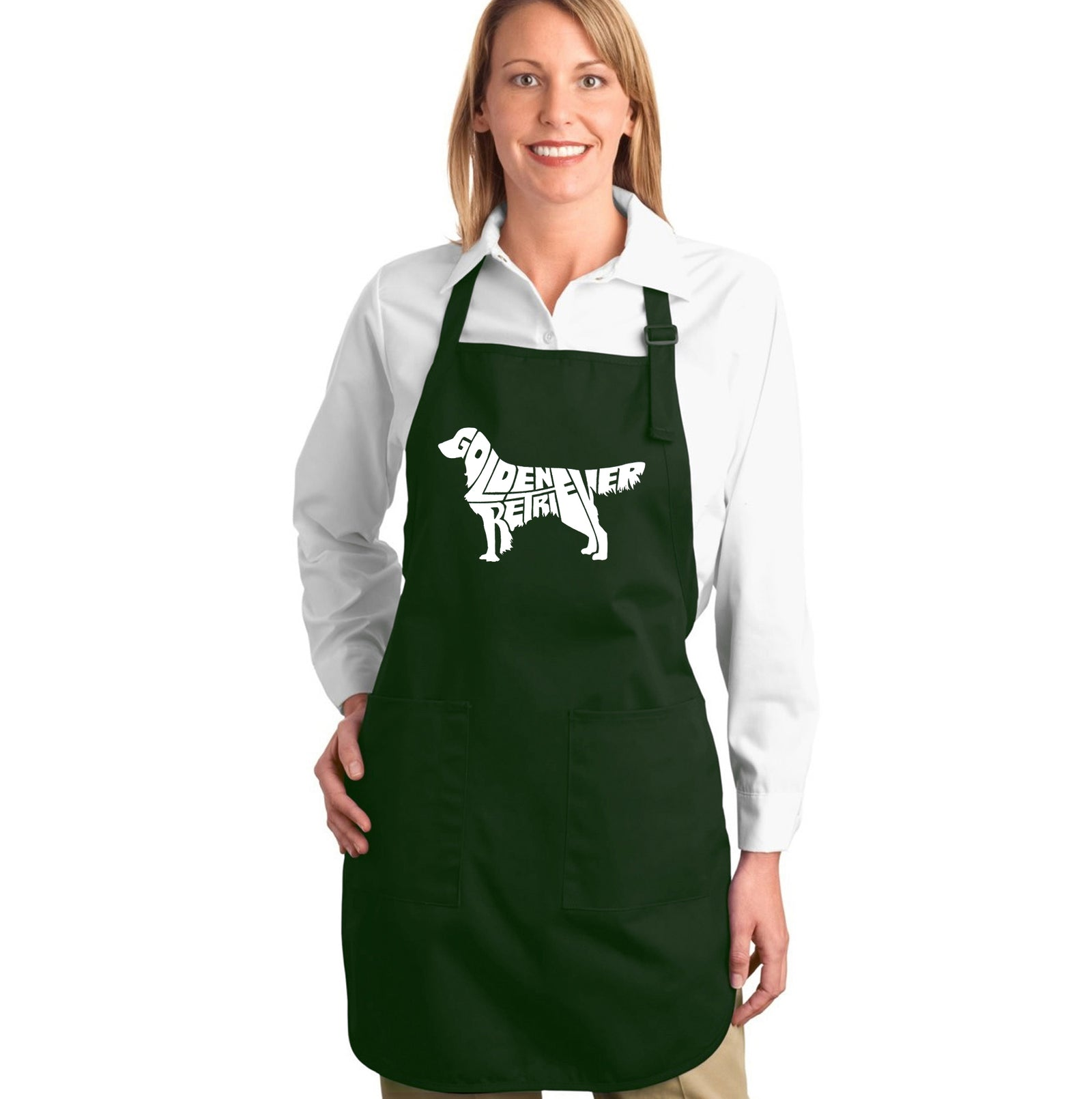 Los Angeles Pop Art Full Length Apron - Golden Retreiver