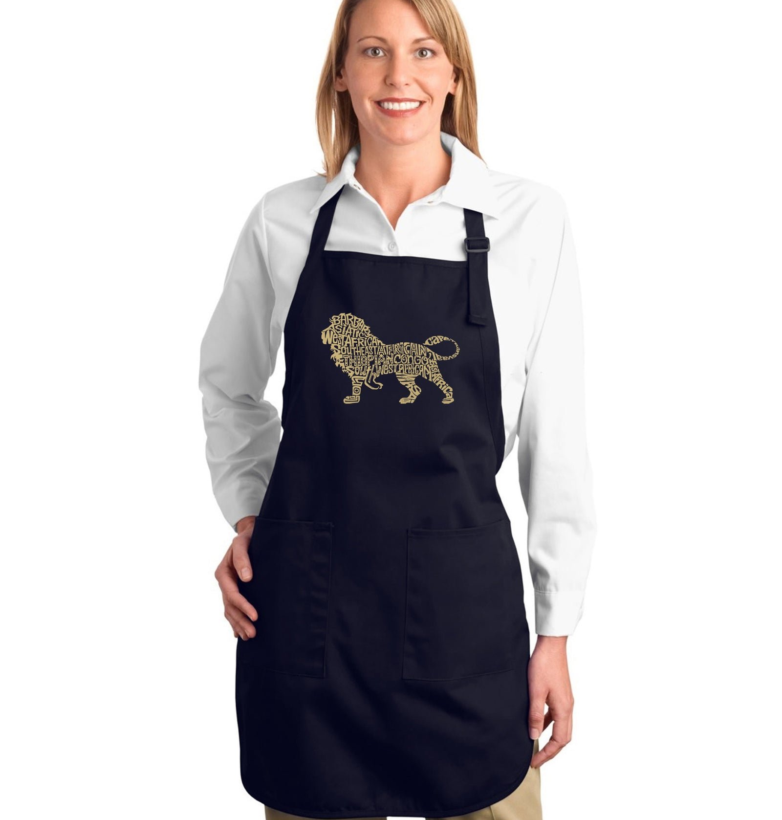 LA Pop Art Full Length Word Art Apron - Lion