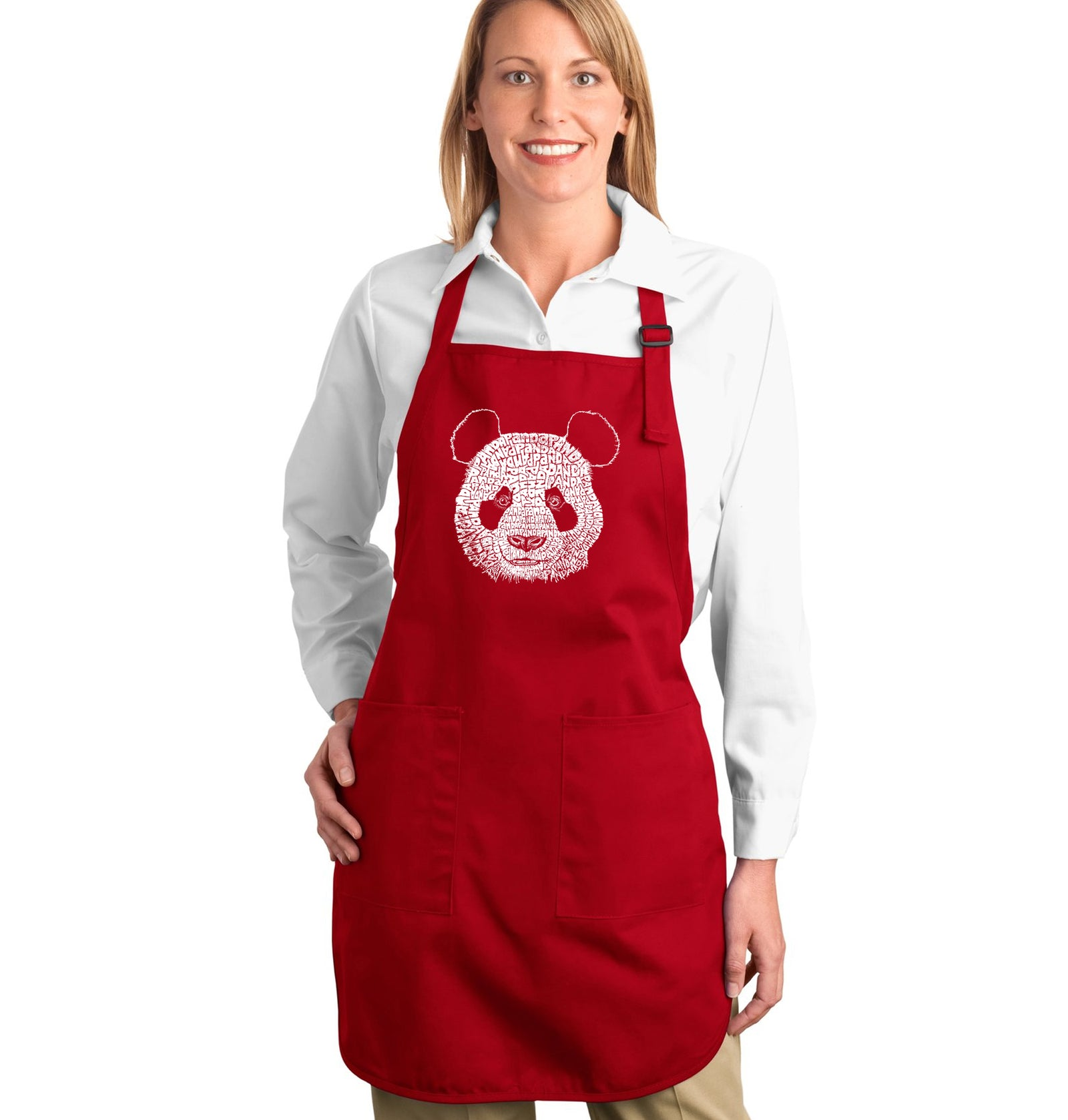 LA Pop Art Full Length Word Art Apron - Panda
