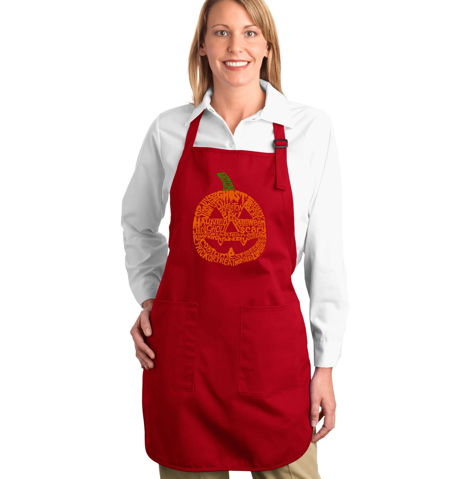 LA Pop Art Full Length Word Art Apron - Pumpkin