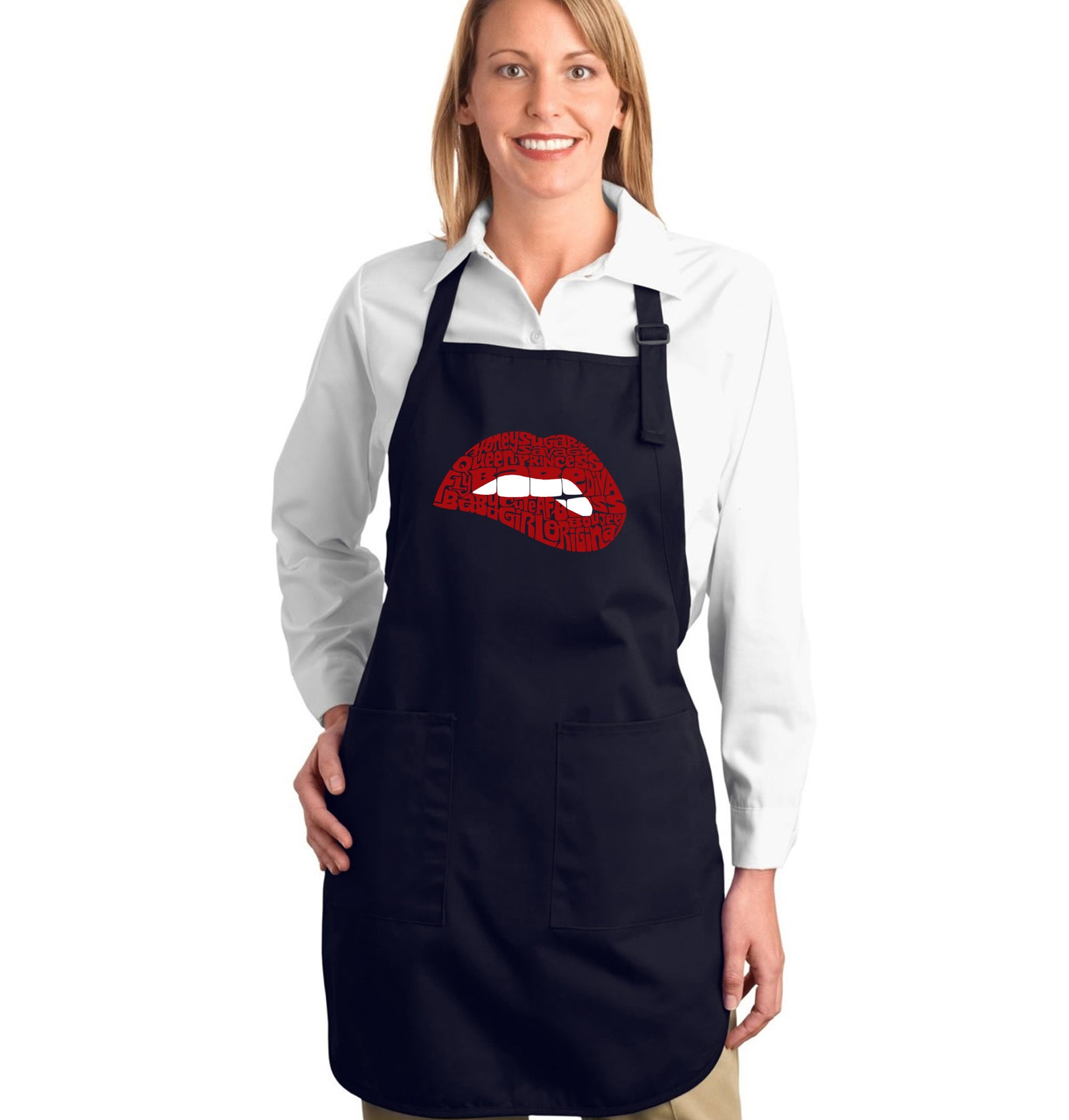 LA Pop Art Full Length Word Art Apron - Savage Lips
