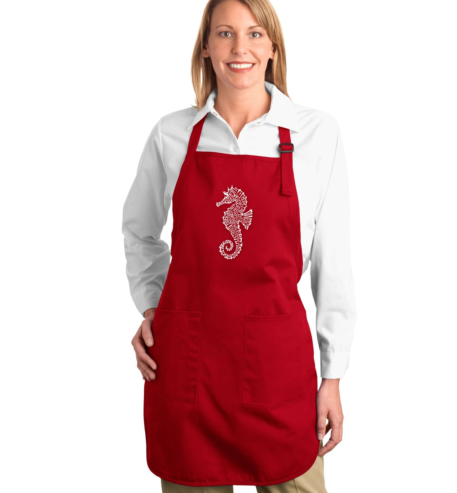 Full Length Word Art Apron - Types of Seahorse