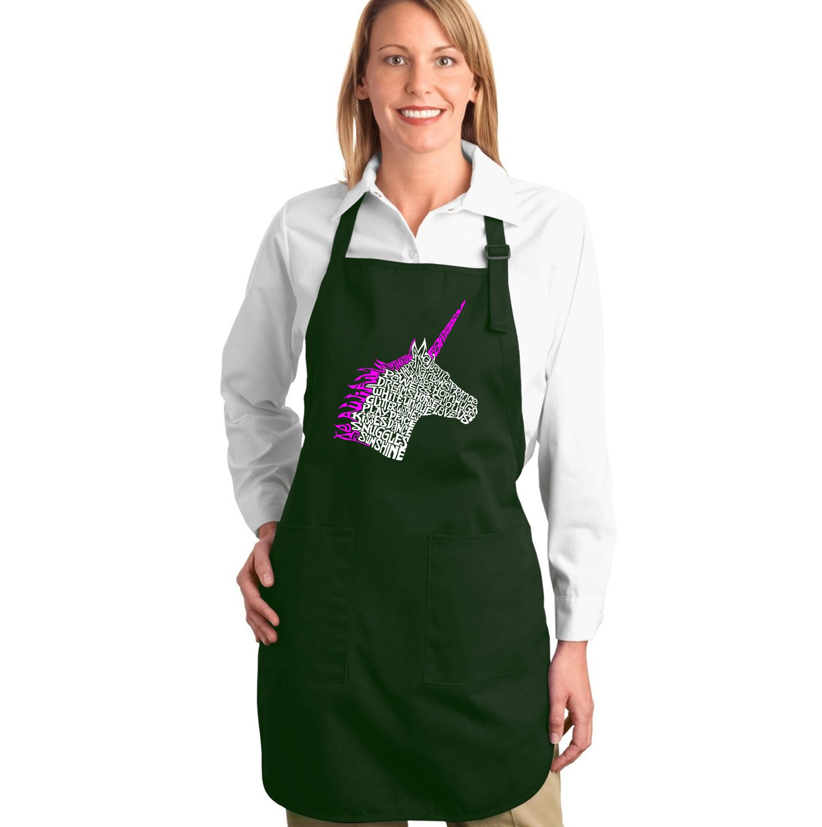 LA Pop Art Full Length Word Art Apron - Unicorn