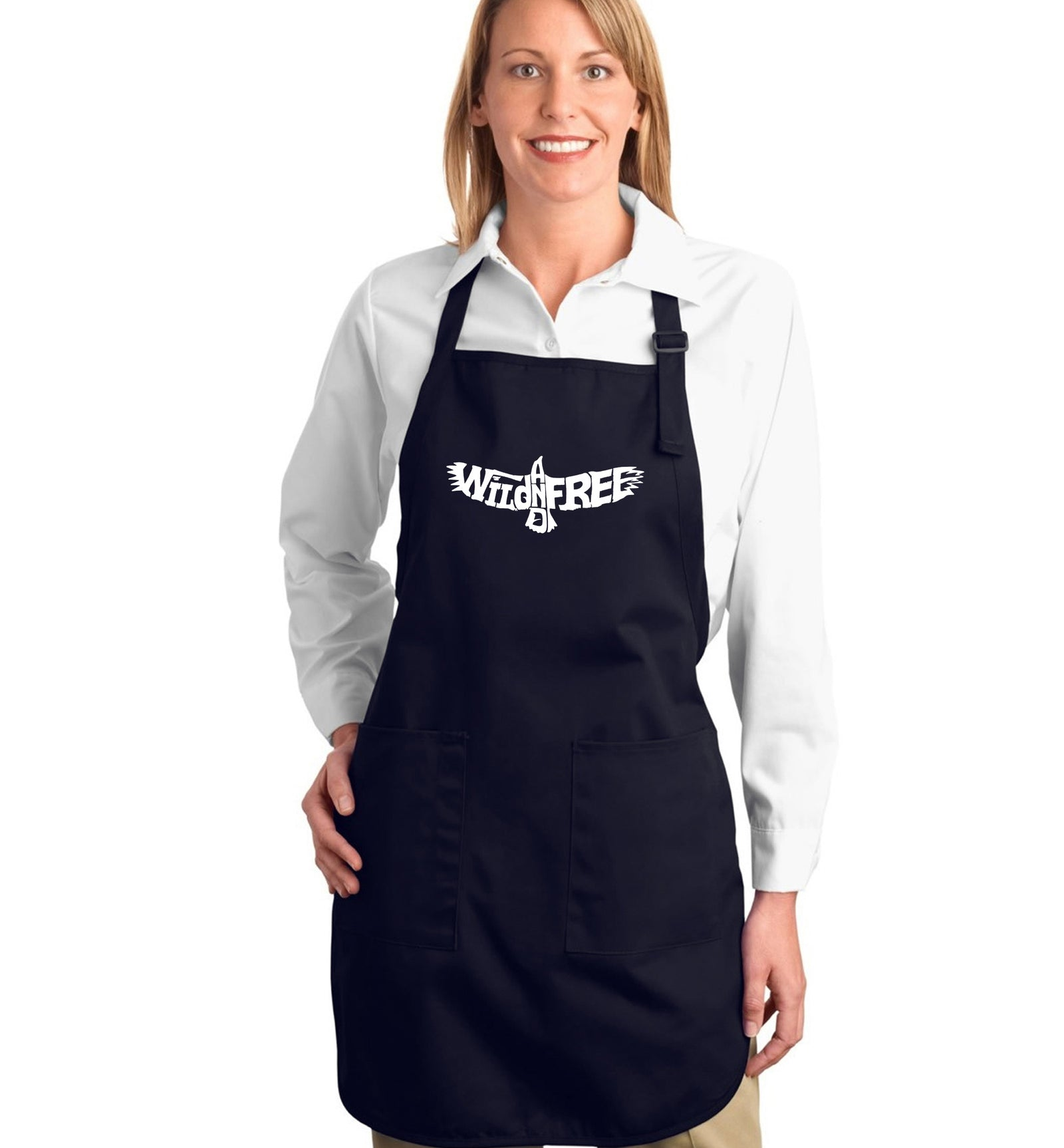 Full Length Word Art Apron - Wild and Free Eagle