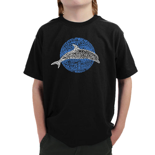 Boy's Word Art T-shirt - Species of Dolphin