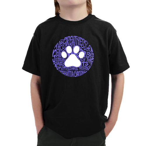 Boy's Word Art T-shirt - Gandhi's Quote on Animal Treatment