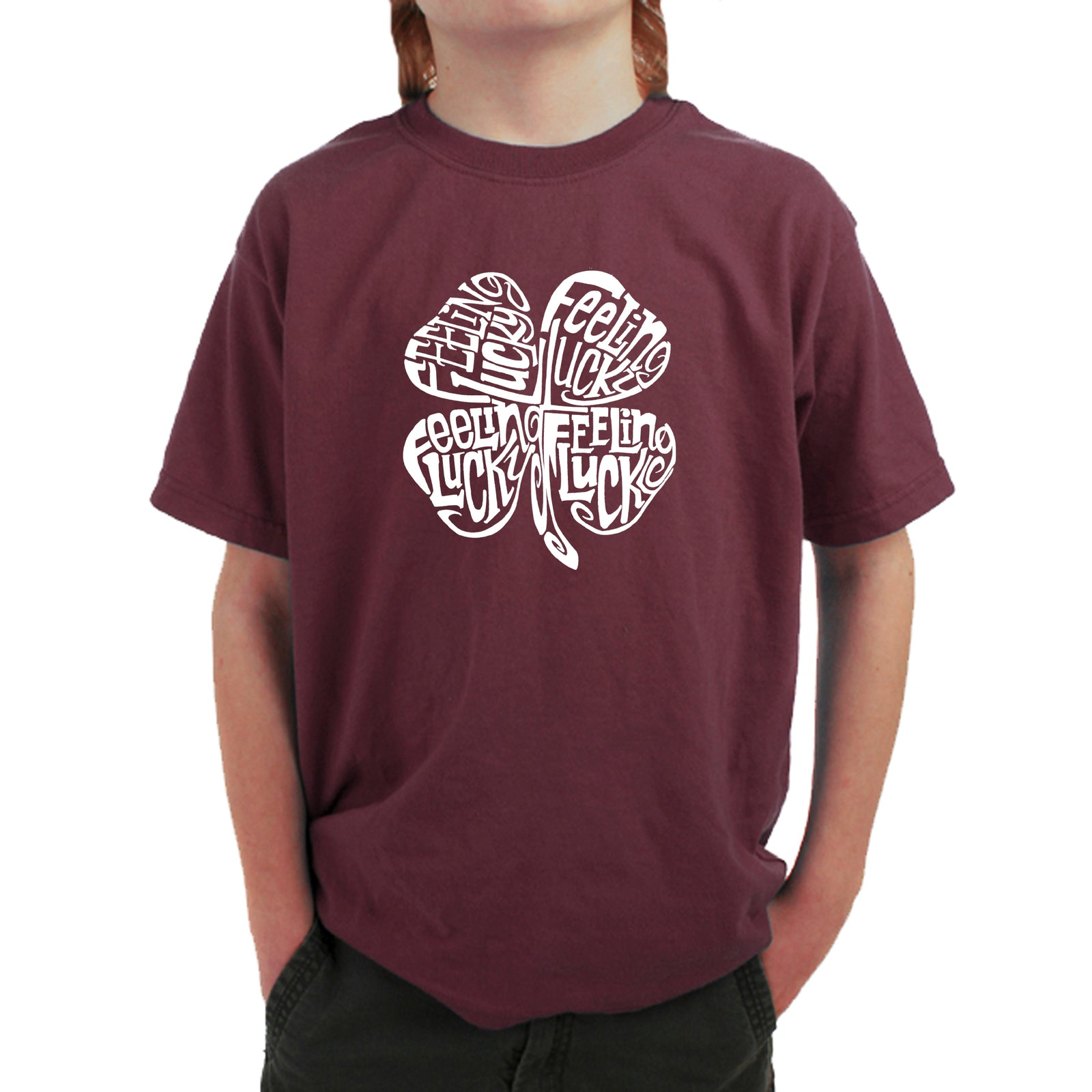 Boy's Word Art T-shirt - Feeling Lucky