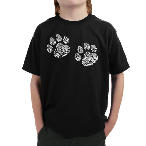 Boy's Word Art T-shirt - Meow Cat Prints