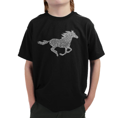 Boy's Word Art T-shirt - Horse Breeds