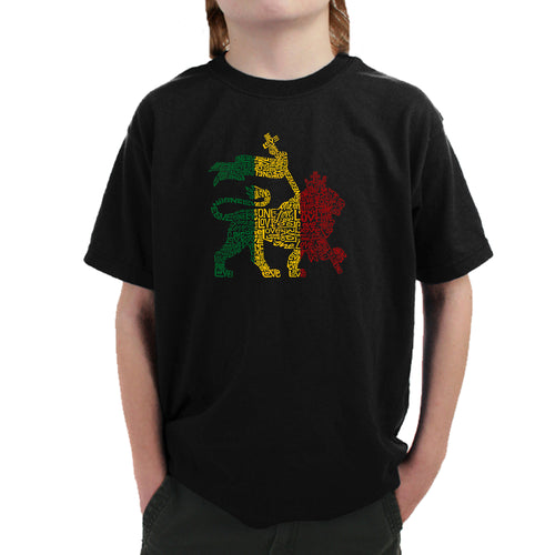 Boy's T-shirt - Rasta Lion - One Love