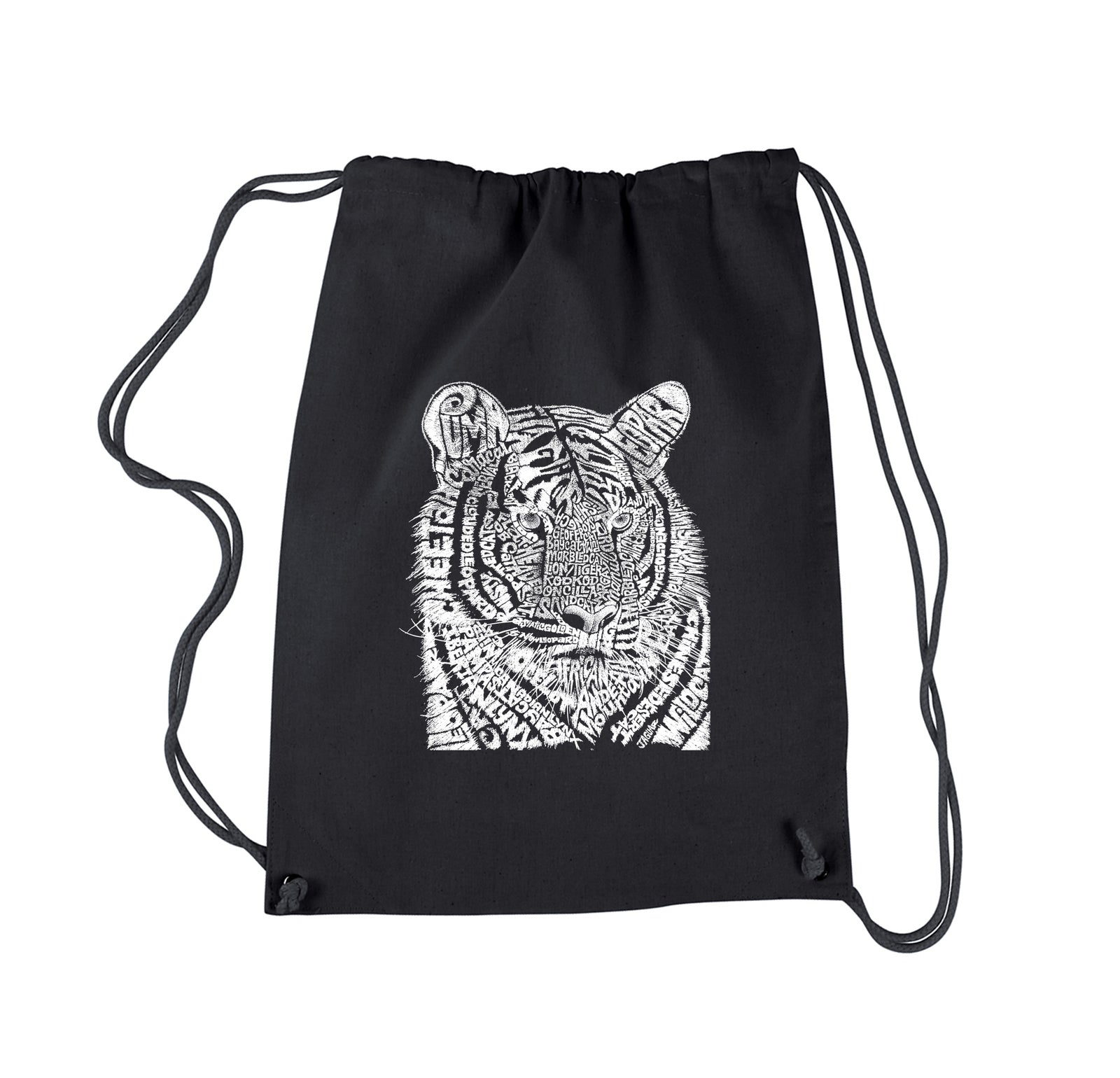 Drawstring Word Art Backpack - Big Cats