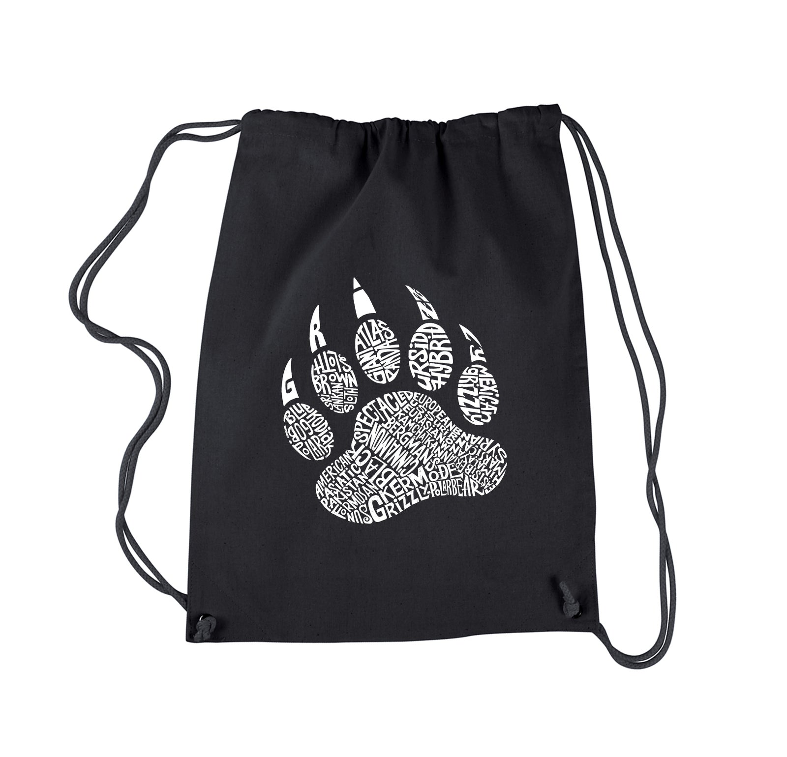 Drawstring Word Art Backpack - Types of Bears