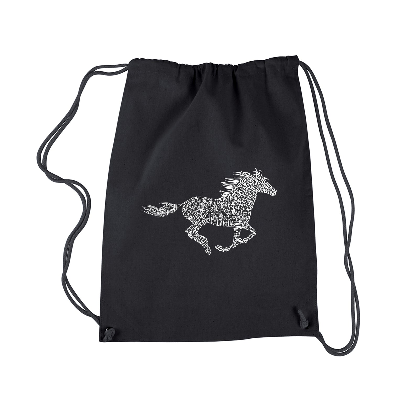 Drawstring Word Art Backpack - Horse Breeds