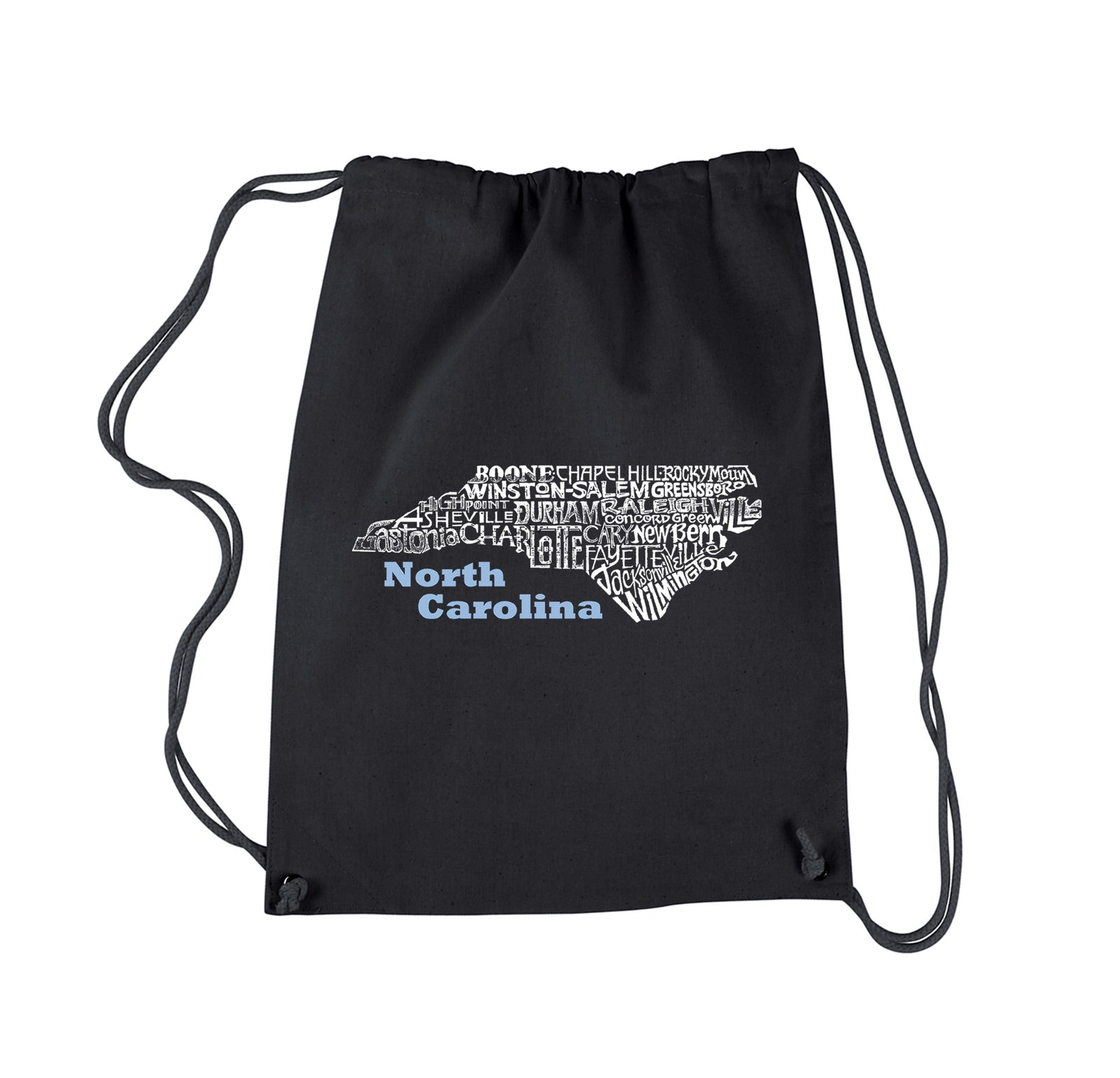 Word Art Drawstring Backpack - North Carolina