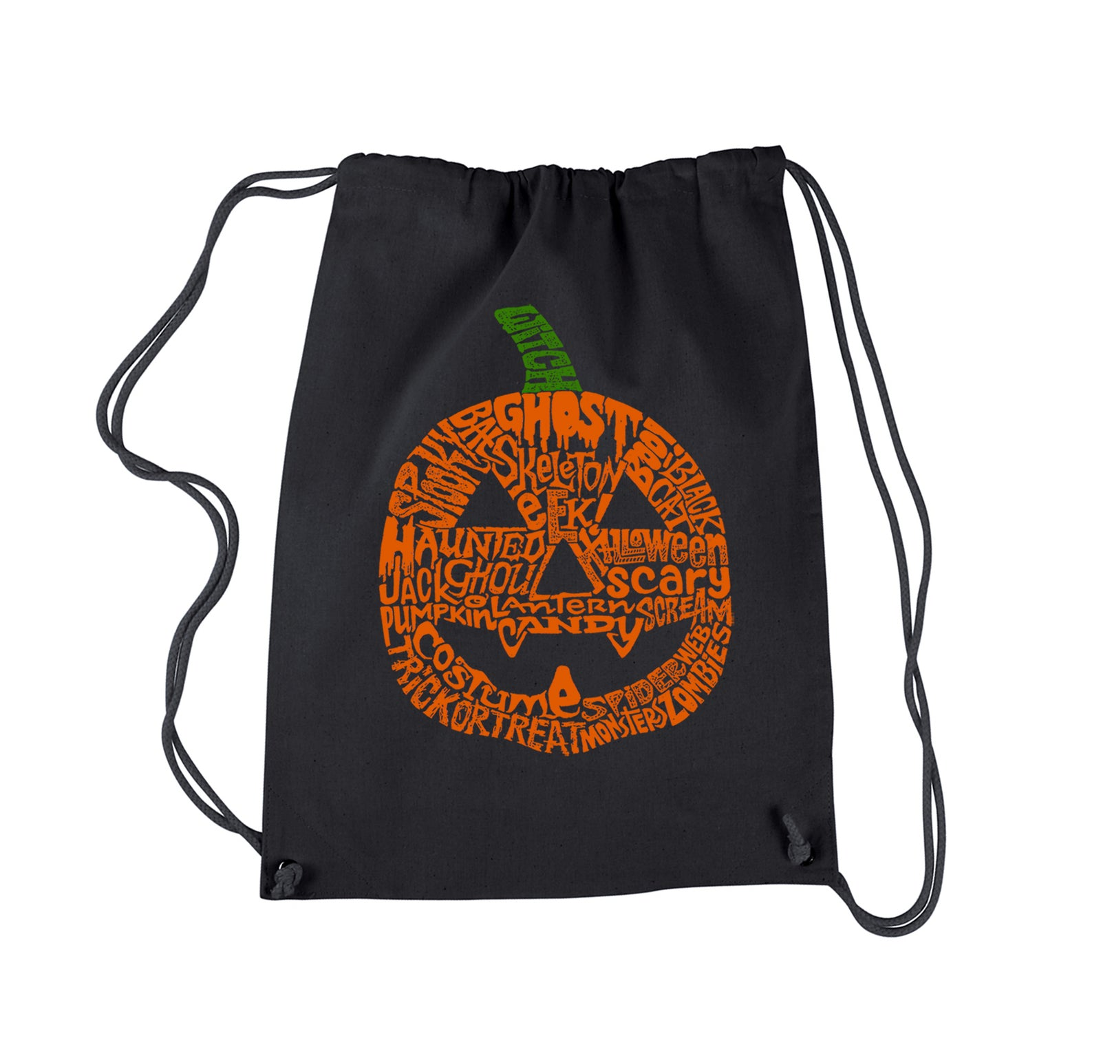 Drawstring Word Art Backpack - Halloween Pumpkin