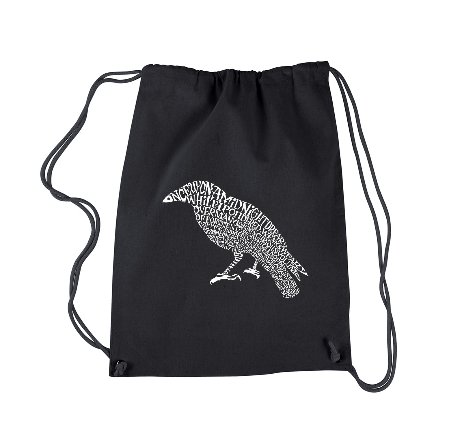 Drawstring Word Art Backpack - Edgar Allen Poe's The Raven