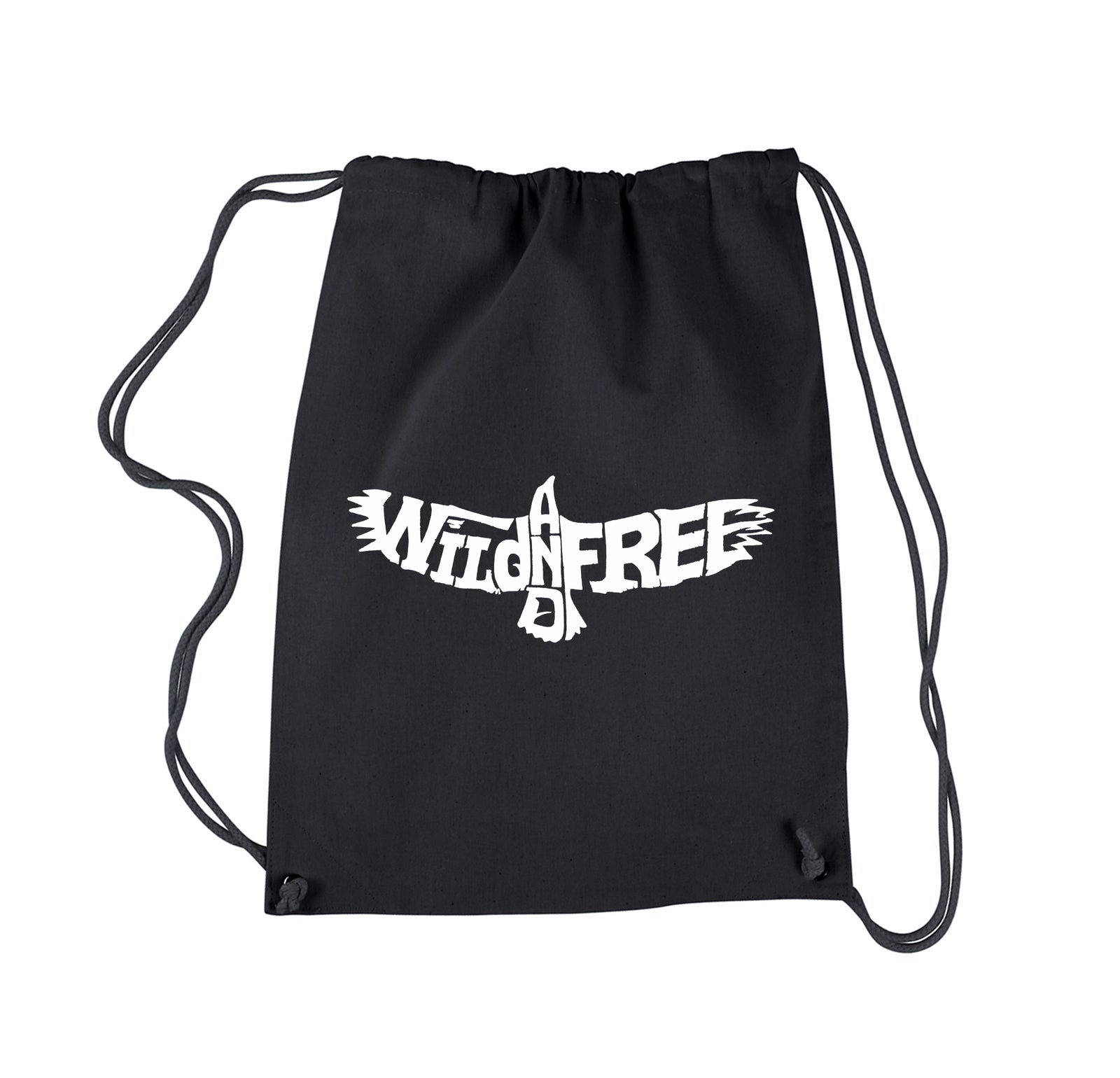 Drawstring Word Art Backpack - Wild and Free Eagle