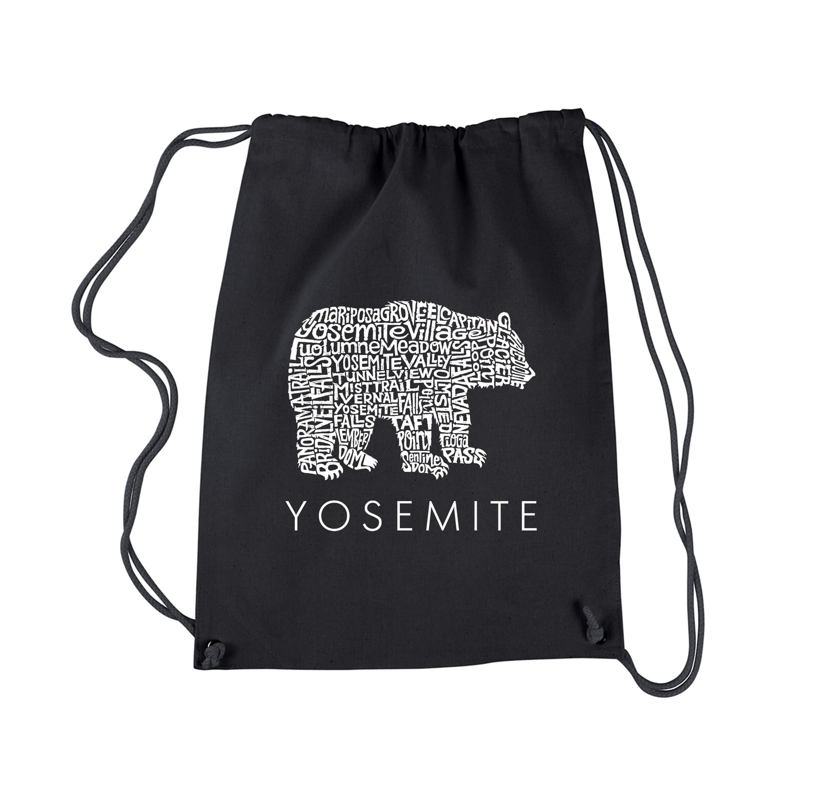 Drawstring Word Art Backpack - Yosemite Bear