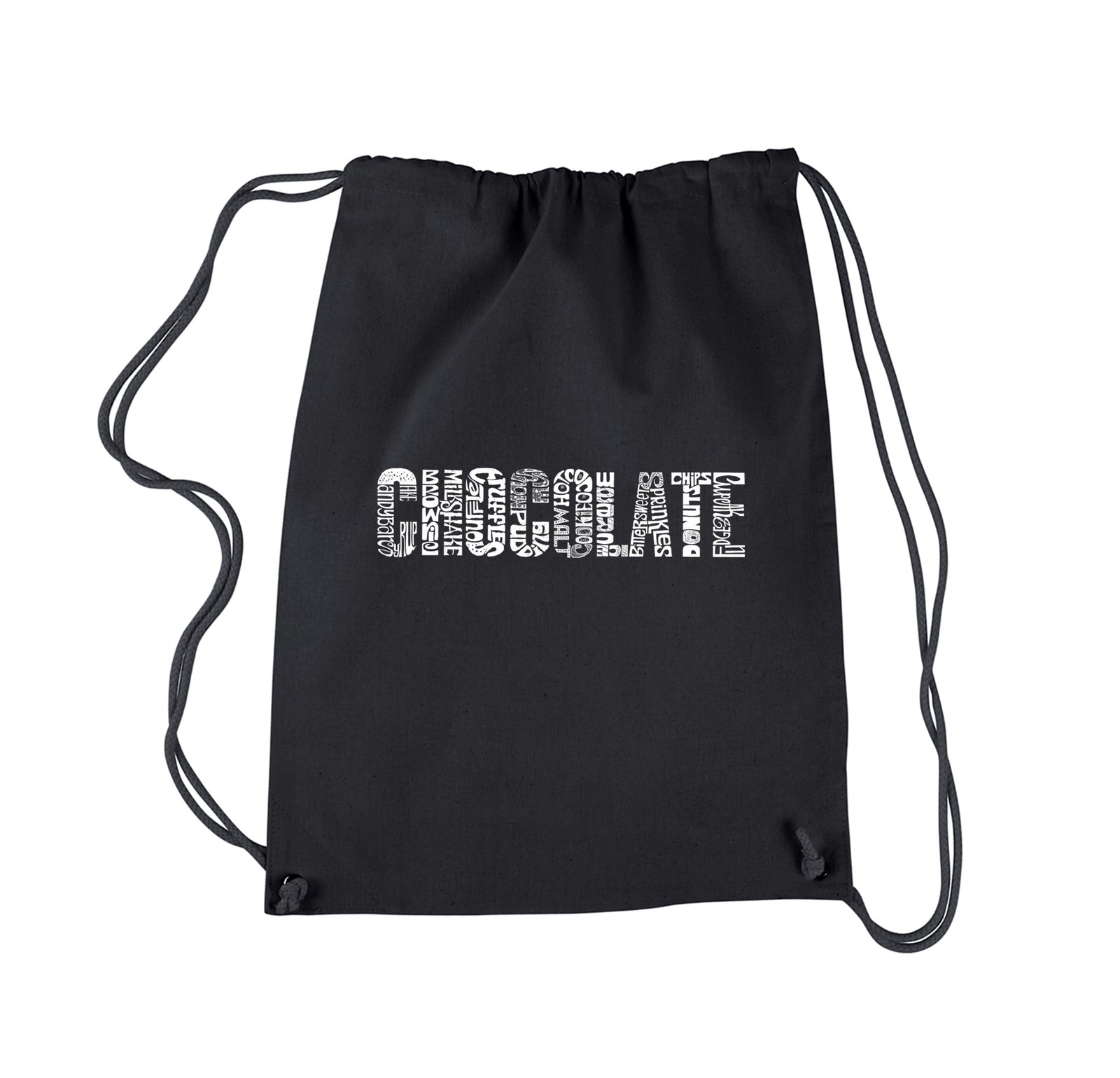 Drawstring Backpack - Different foods made with chocolate