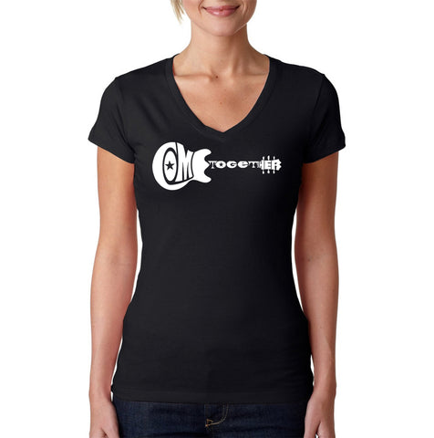 Women's V-Neck T-Shirt - THE WORD PEACE IN 77 LANGUAGES