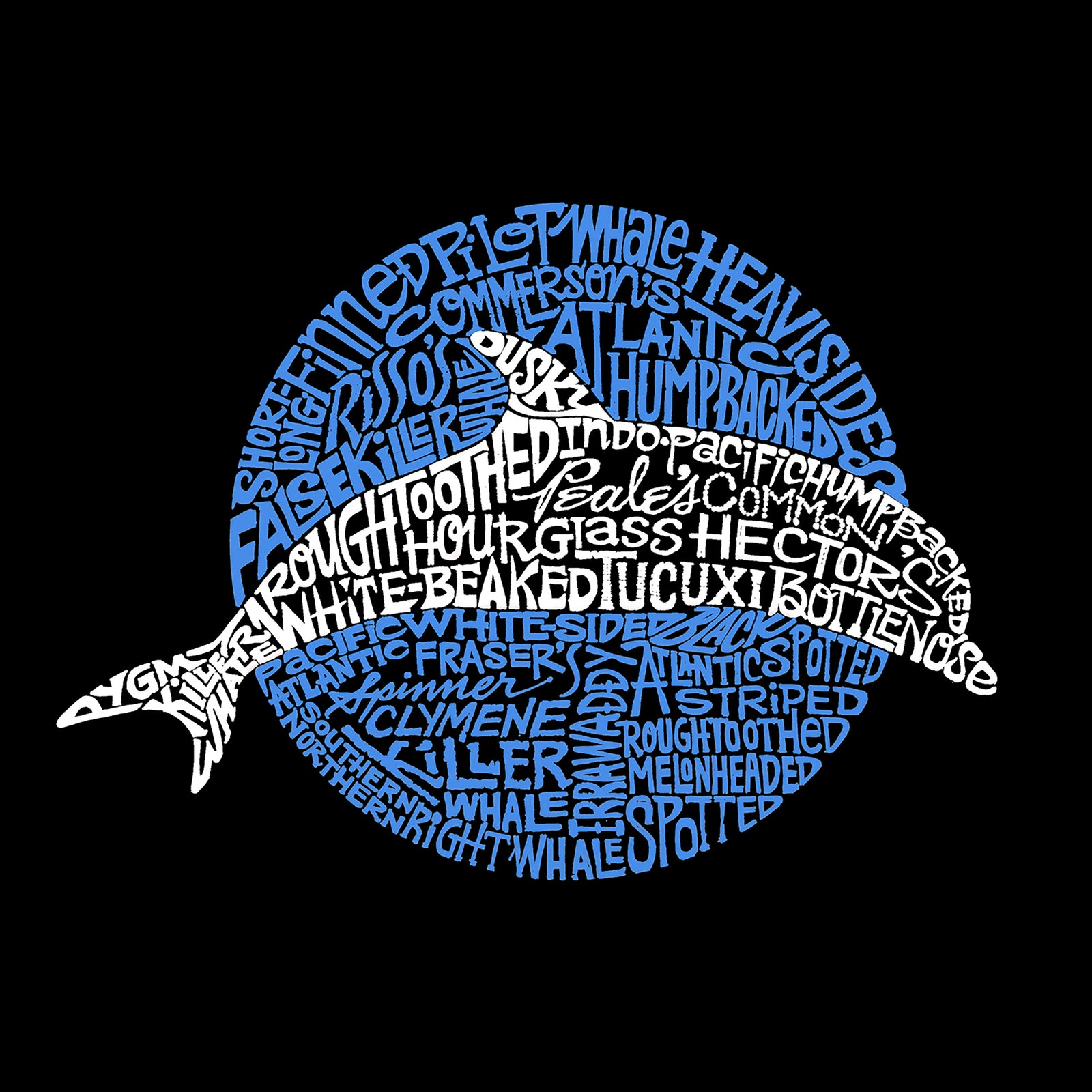 Women's Word Art Long Sleeve T-Shirt - Species of Dolphin
