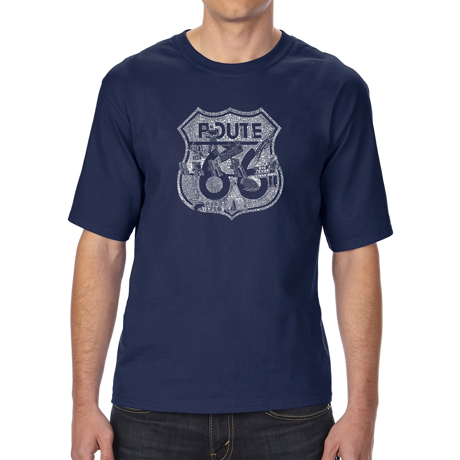 Men's Tall and Long Word Art T-shirt - Stops Along Route 66