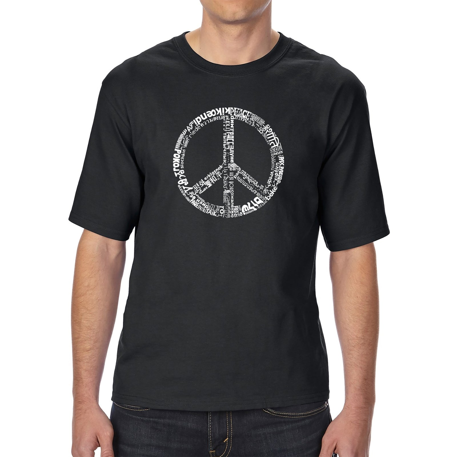 Men's Tall and Long Word Art T-shirt - THE WORD PEACE IN 77 LANGUAGES