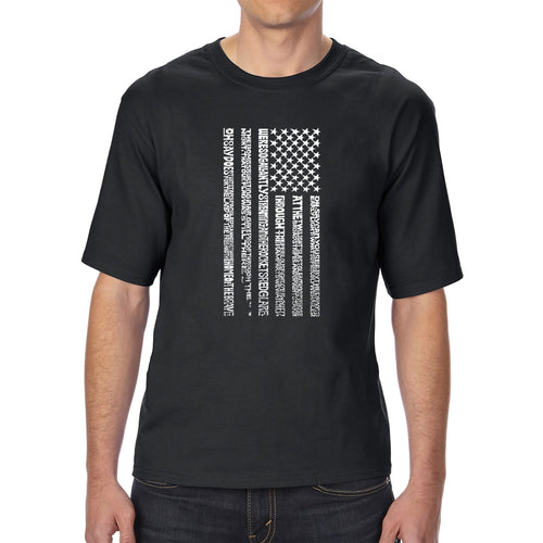 Men's Tall and Long Word Art T-shirt - National Anthem Flag