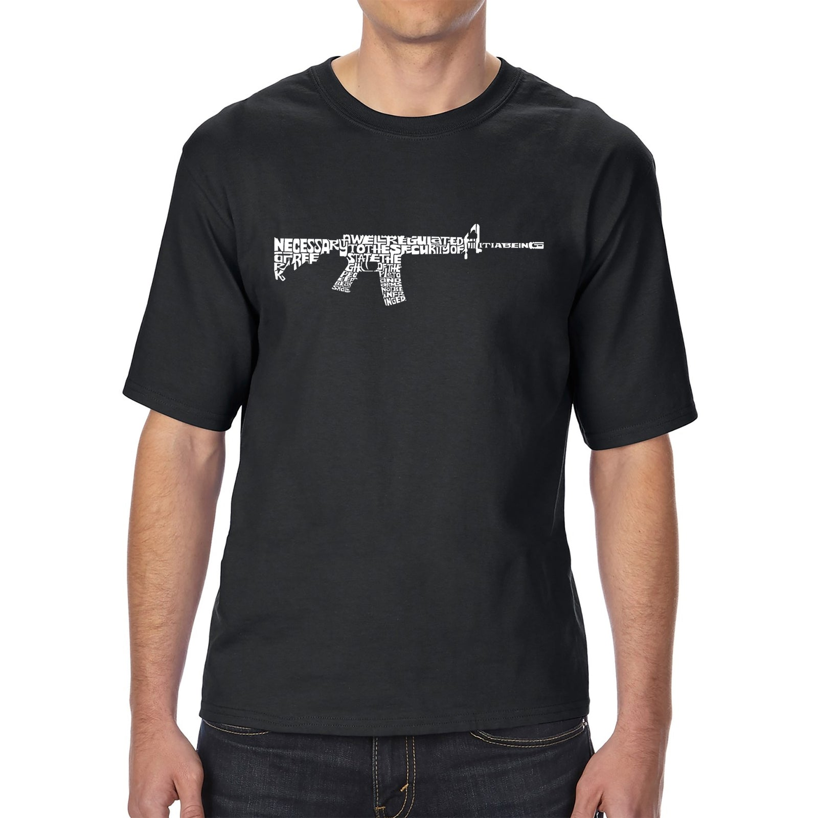 Men's Tall and Long Word Art T-shirt - AR15 2nd Amendment Word Art