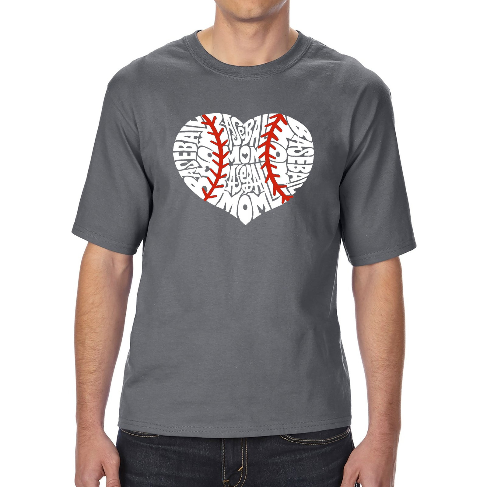 Men's Tall and Long Word Art T-shirt - Baseball Mom
