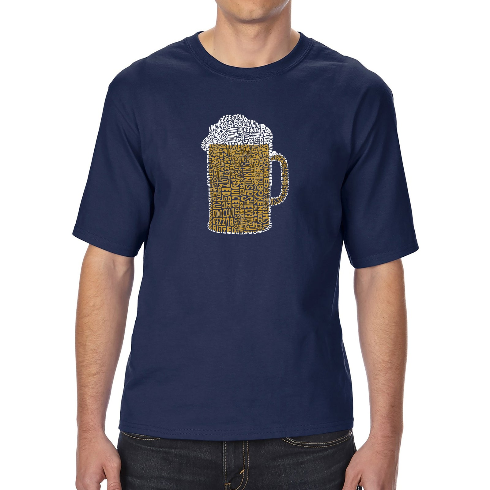 Men's Tall and Long Word Art T-shirt - Slang Terms for Being Wasted