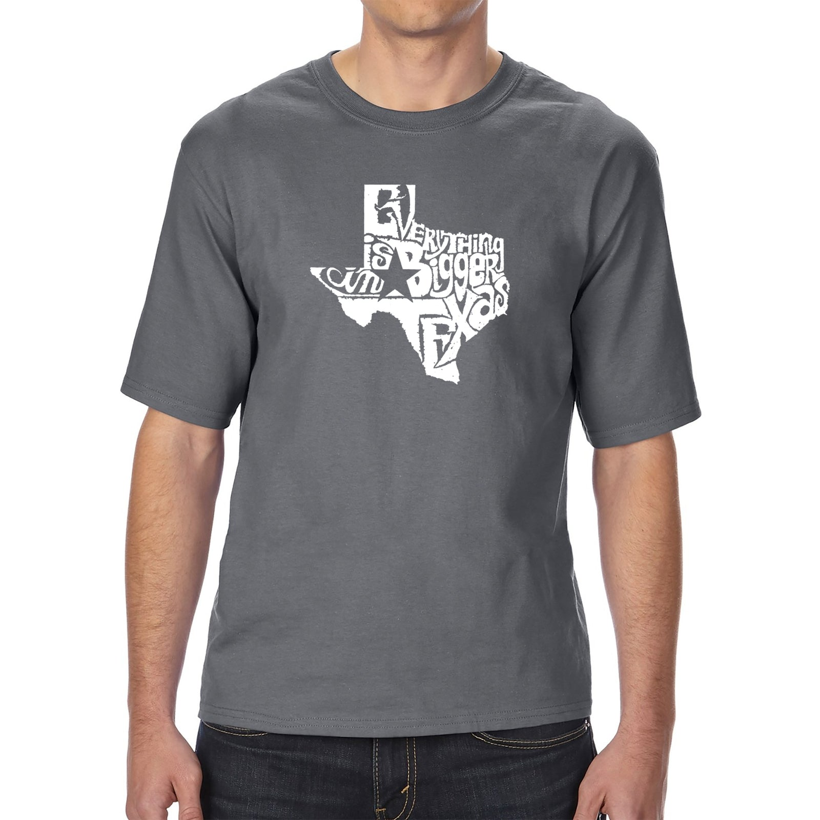 Men's Tall and Long Word Art T-shirt - Everything is Bigger in Texas