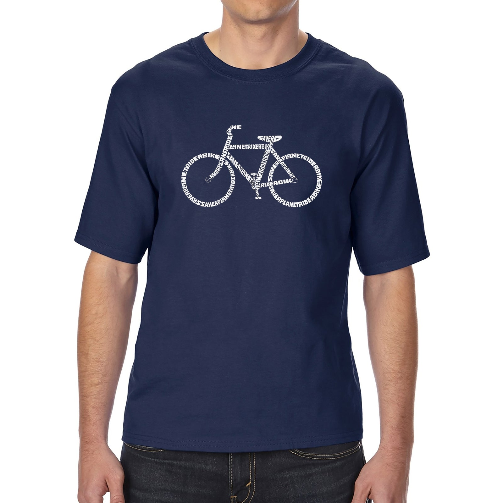Men's Tall and Long Word Art T-shirt - SAVE A PLANET, RIDE A BIKE
