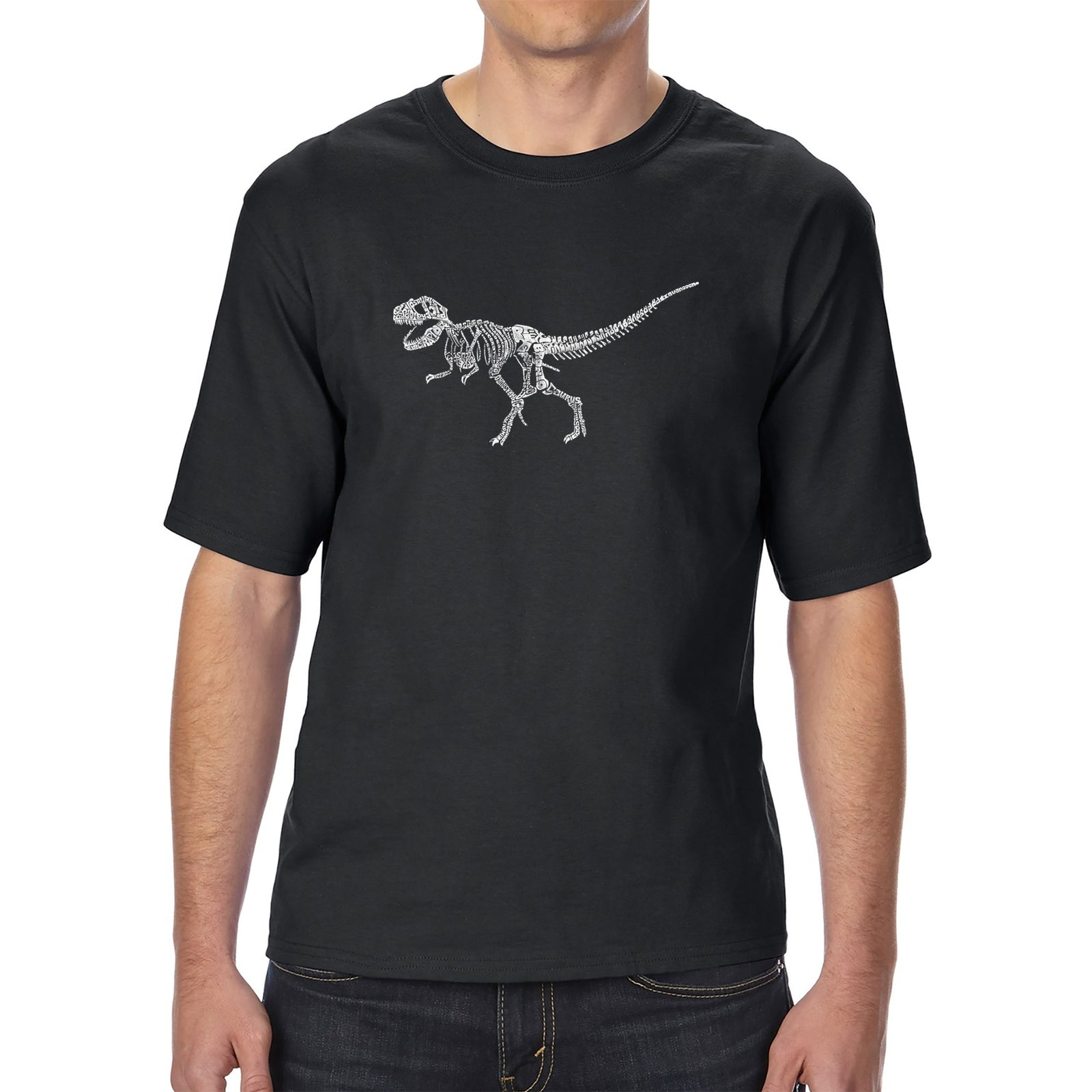Men's Tall and Long Word Art T-shirt - Dinosaur T-Rex Skeleton
