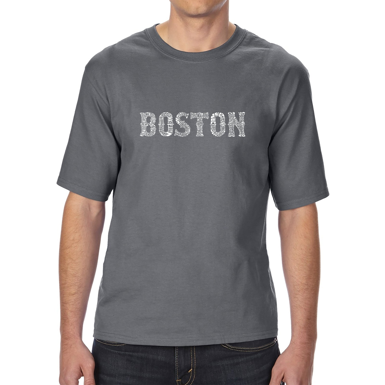 Men's Tall and Long Word Art T-shirt - BOSTON NEIGHBORHOODS